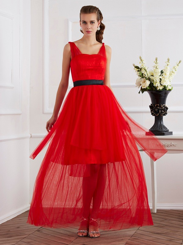 A-Line/Princess Pleats Straps Sleeveless Ankle-Length Elastic Woven Satin Dresses