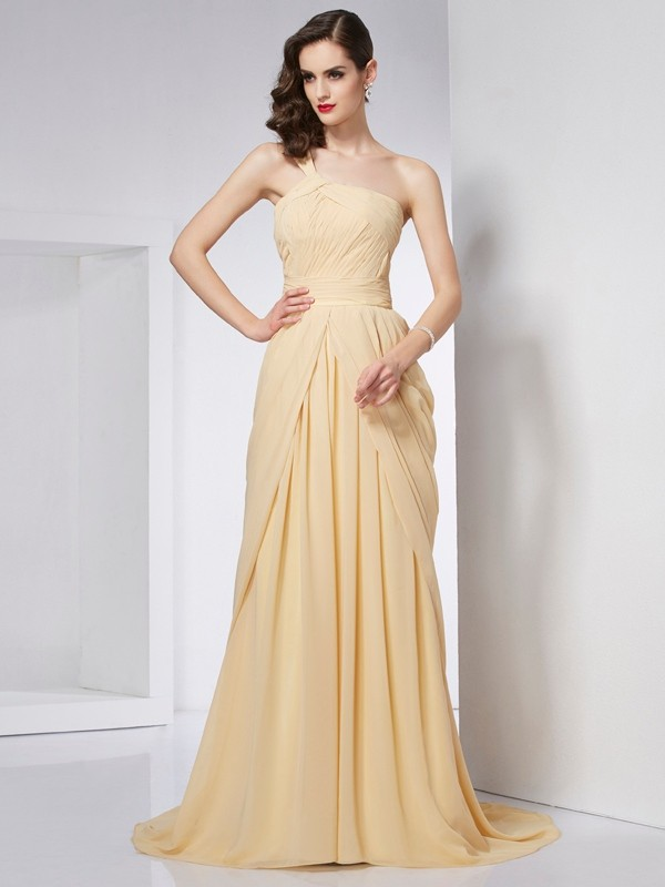 A-Line/Princess Pleats One-Shoulder Sleeveless Chapel Train Chiffon Dresses