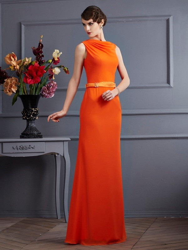 Sheath/Column Sash/Ribbon/Belt High Neck Sleeveless Floor-Length Chiffon Dresses