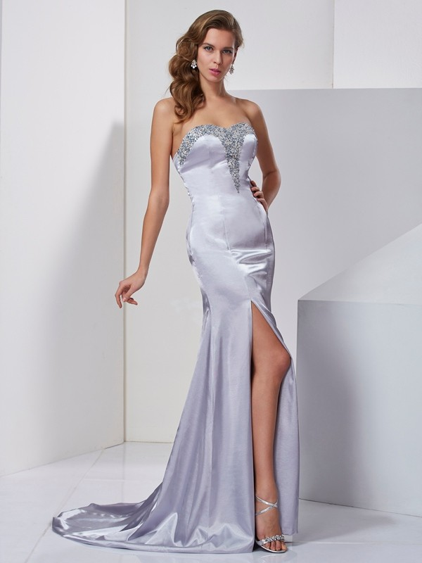 A-Line/Princess Beading Sweetheart Sleeveless Sweep/Brush Train Elastic Woven Satin Dresses