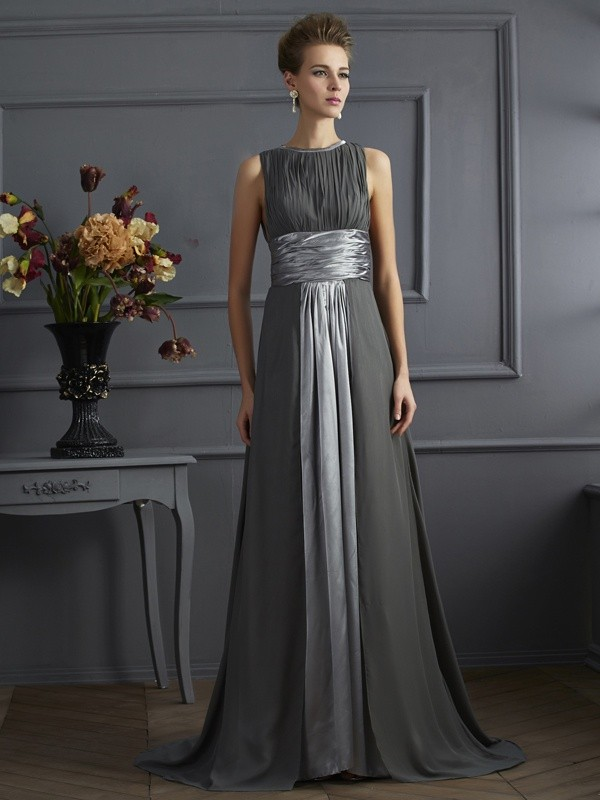 A-Line/Princess Pleats High Neck Sleeveless Sweep/Brush Train Chiffon Dresses