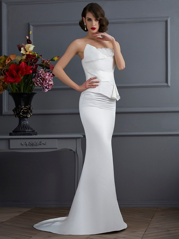 Trumpet/Mermaid Hand-Made Flower Strapless Sleeveless Sweep/Brush Train Satin Dresses