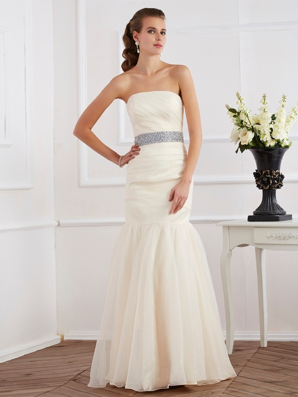 Trumpet/Mermaid Sash/Ribbon/Belt Strapless Sleeveless Floor-Length Organza Dresses