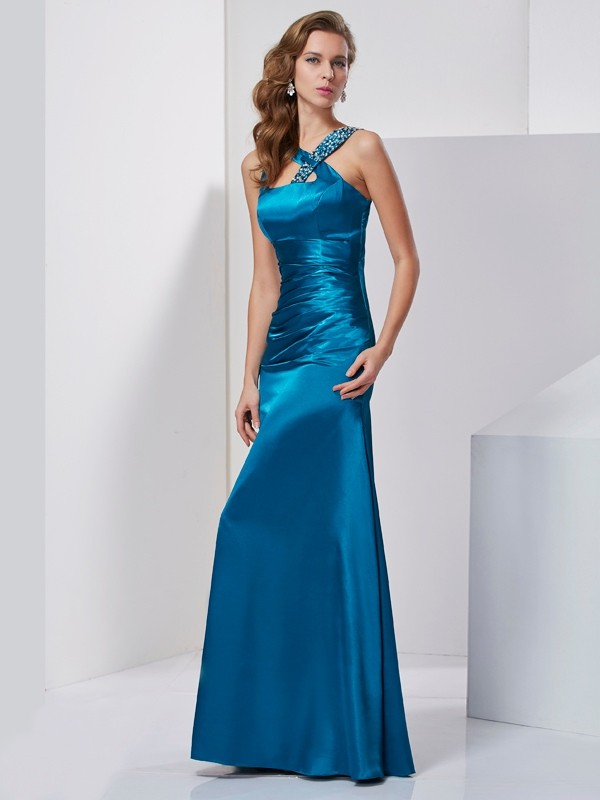 Sheath/Column Beading Straps Sleeveless Floor-Length Silk like Satin Dresses