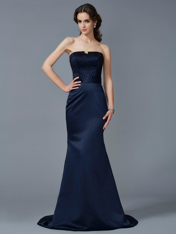 Trumpet/Mermaid Beading Strapless Sleeveless Sweep/Brush Train Satin Dresses