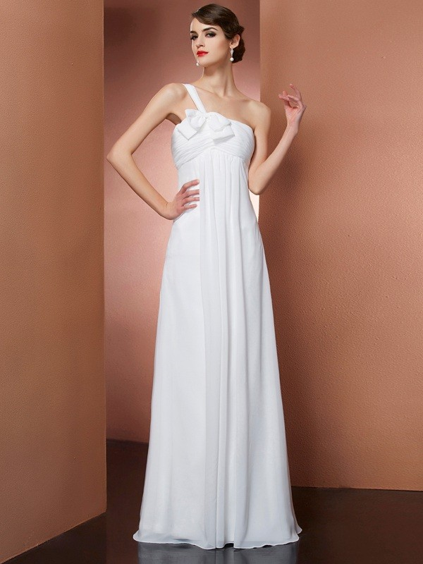 A-Line/Princess Bowknot One-Shoulder Sleeveless Floor-Length Chiffon Dresses