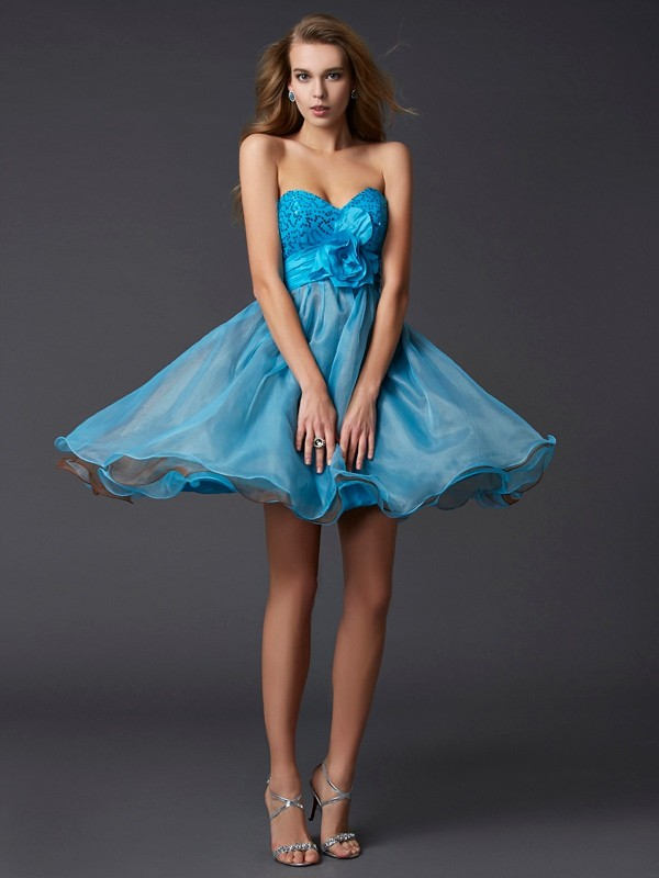 A-Line/Princess Lace Sweetheart Sleeveless Short/Mini Taffeta Dresses