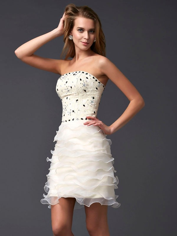 Sheath/Column Beading Strapless Sleeveless Short/Mini Tulle Dresses