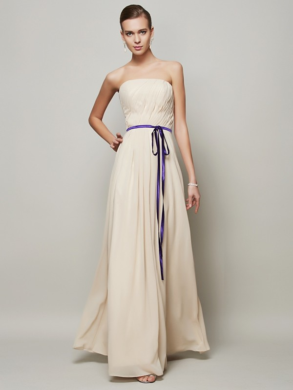 A-Line/Princess Sash/Ribbon/Belt Strapless Sleeveless Floor-Length Chiffon Dresses