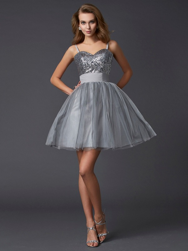 A-Line/Princess Spaghetti Straps Sleeveless Short/Mini Organza Dresses