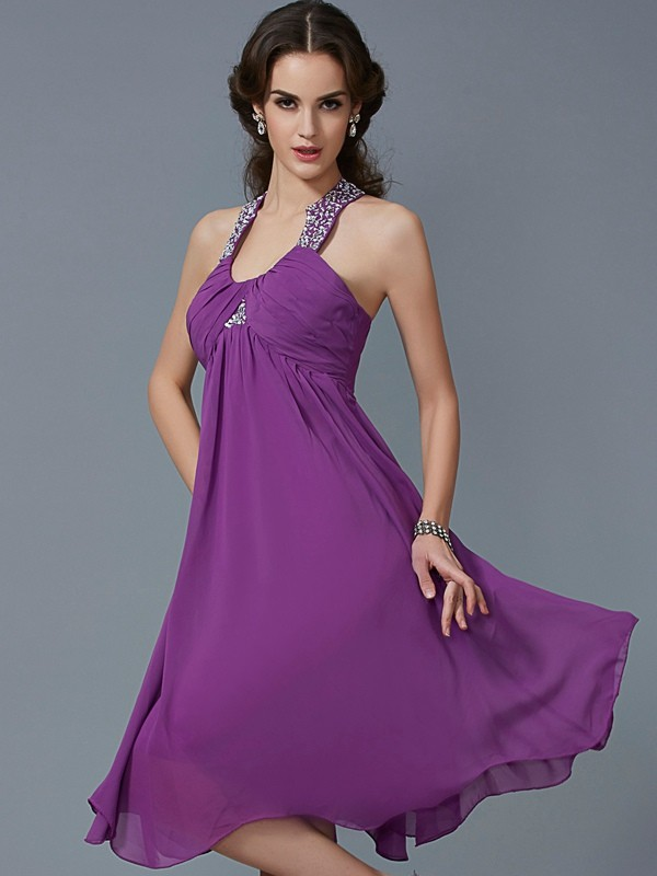 A-Line/Princess Beading Halter Sleeveless Knee-Length Chiffon Dresses
