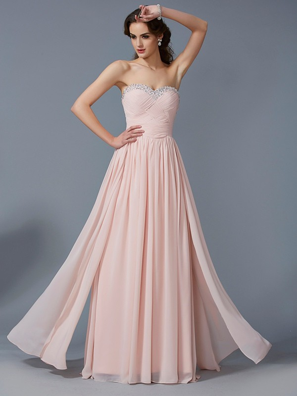 A-Line/Princess Pleats Sweetheart Sleeveless Floor-Length Chiffon Dresses