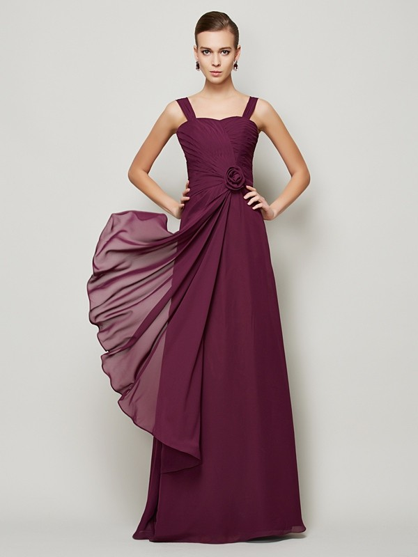 A-Line/Princess Hand-Made Flower Straps Sleeveless Floor-Length Chiffon Dresses