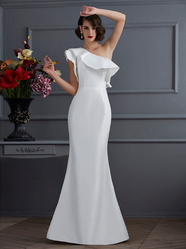 Trumpet/Mermaid Ruffles One-Shoulder Sleeveless Floor-Length Taffeta Dresses