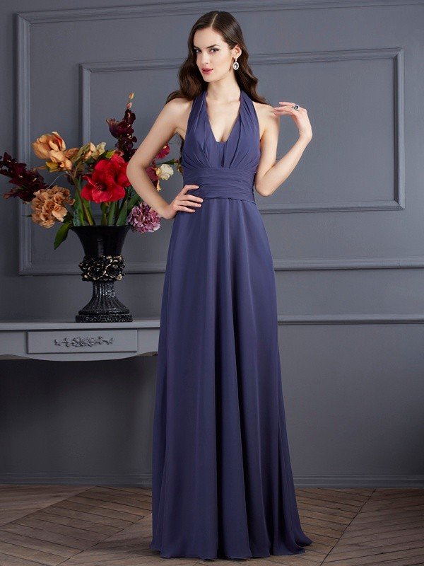 A-Line/Princess Pleats Halter Sleeveless Floor-Length Chiffon Dresses