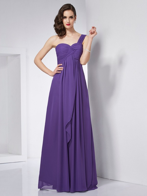 A-Line/Princess Pleats One-Shoulder Sleeveless Floor-Length Chiffon Dresses