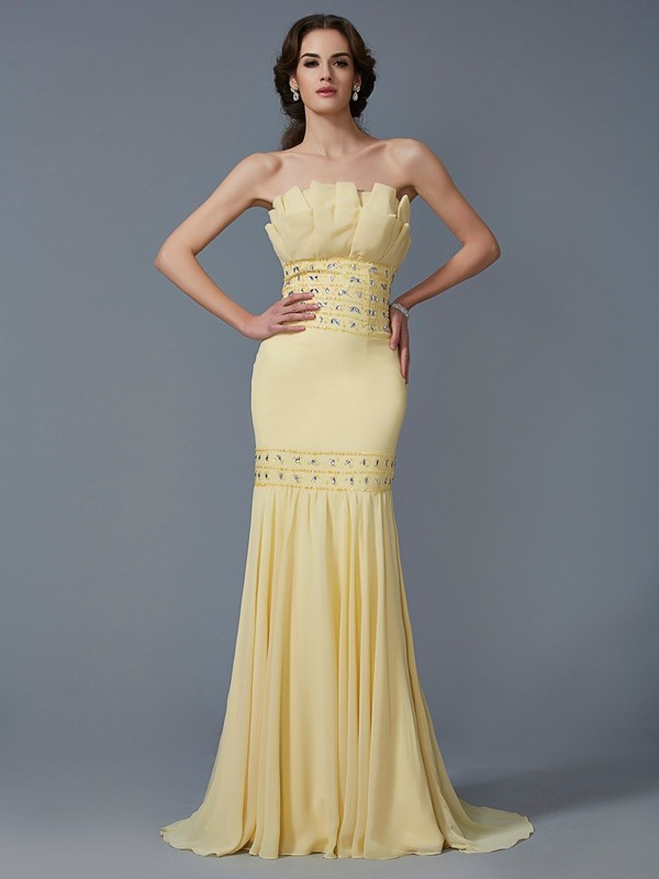 Trumpet/Mermaid Beading Strapless Sleeveless Sweep/Brush Train Chiffon Dresses