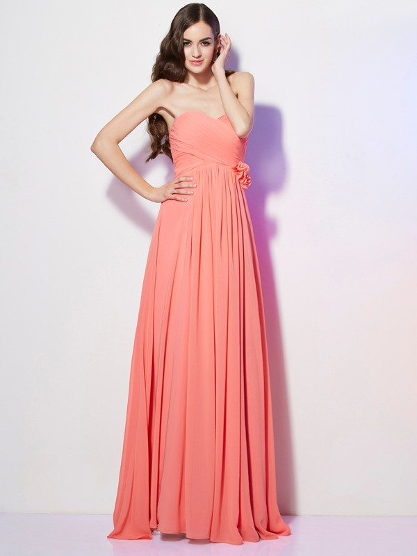 A-Line/Princess Hand-Made Flower Sweetheart Sleeveless Floor-Length Chiffon Dresses