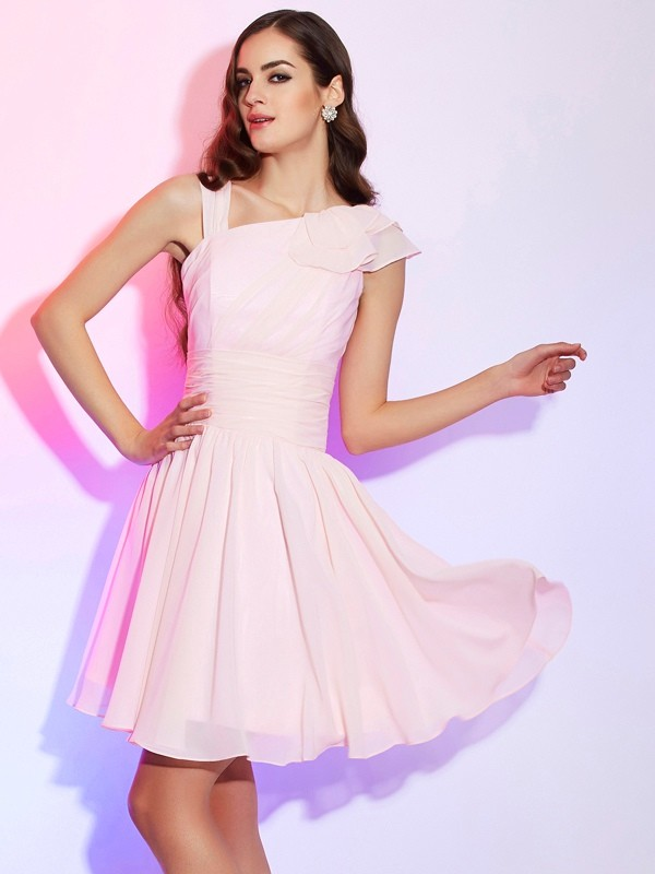 A-Line/Princess Pleats Other Sleeveless Short/Mini Chiffon Dresses