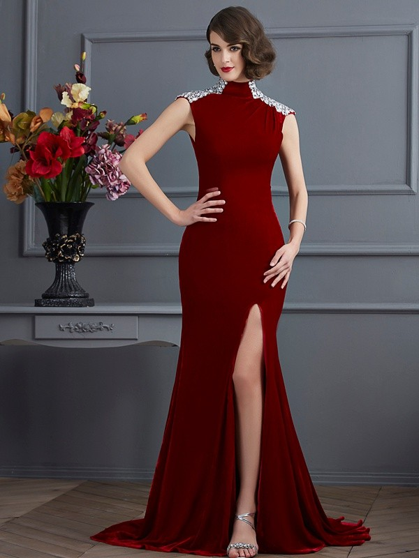 A-Line/Princess Beading High Neck Sleeveless Sweep/Brush Train Velvet Dresses