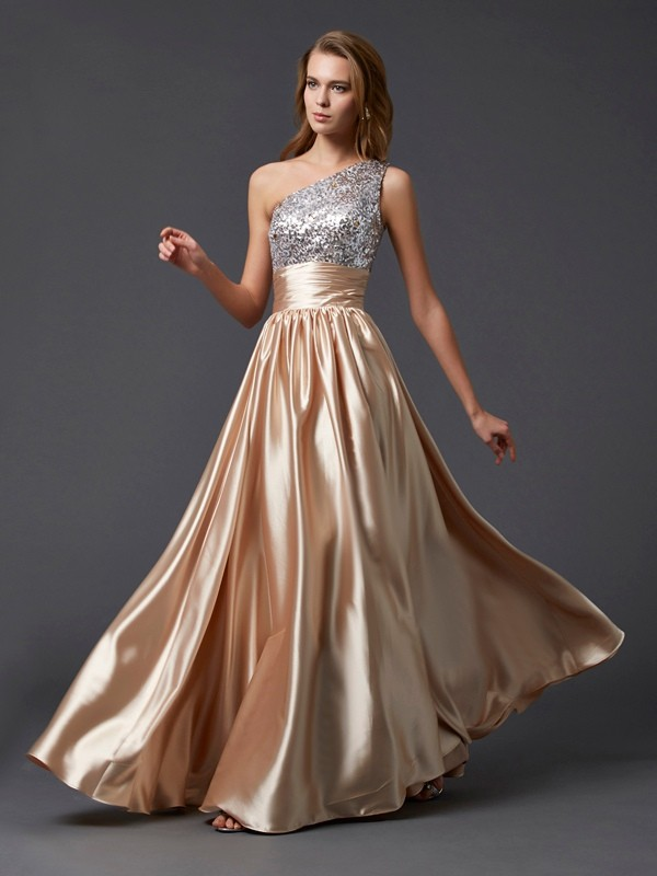 A-Line/Princess Paillette One-Shoulder Sleeveless Floor-Length Elastic Woven Satin Dresses