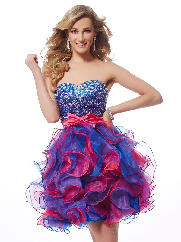 A-Line/Princess Sequin Sweetheart Sleeveless Short/Mini Organza Dresses