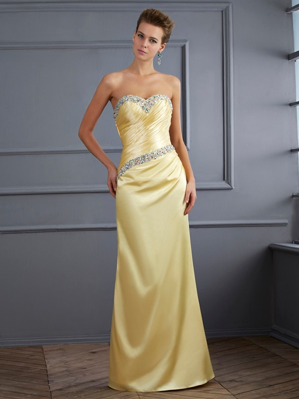 Trumpet/Mermaid Beading Sweetheart Sleeveless Floor-Length Elastic Woven Satin Dresses