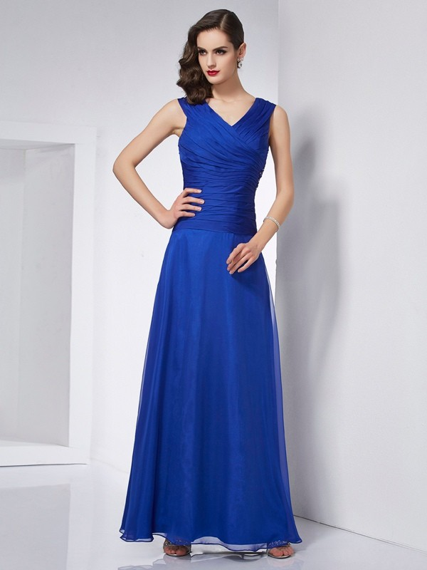 A-Line/Princess Pleats V-neck Sleeveless Ankle-Length Chiffon Dresses