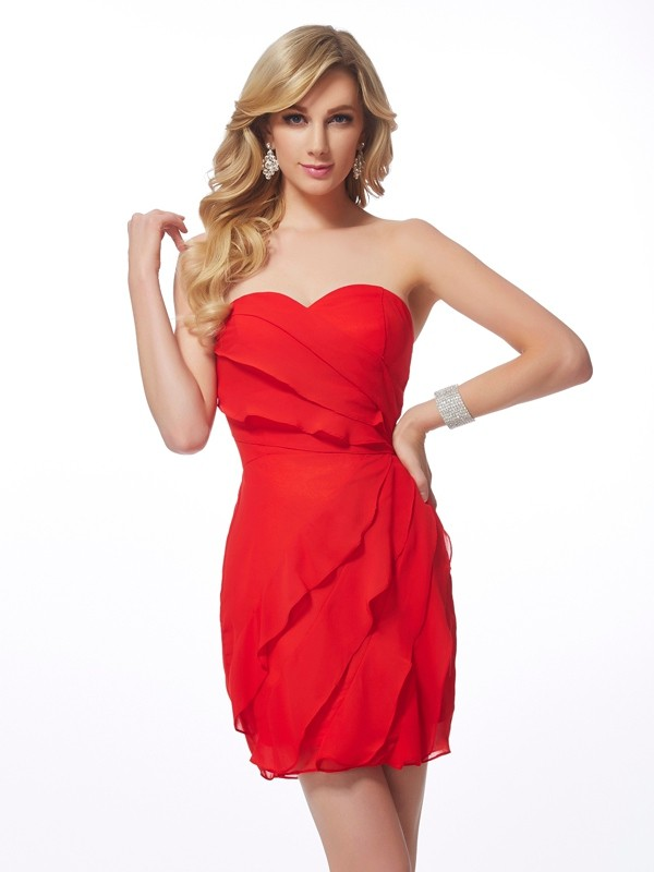 Sheath/Column Ruffles Sweetheart Sleeveless Short/Mini Chiffon Dresses