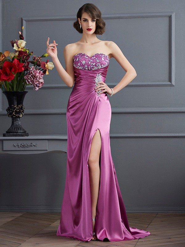 Sheath/Column Beading Sweetheart Sleeveless Sweep/Brush Train Elastic Woven Satin Dresses