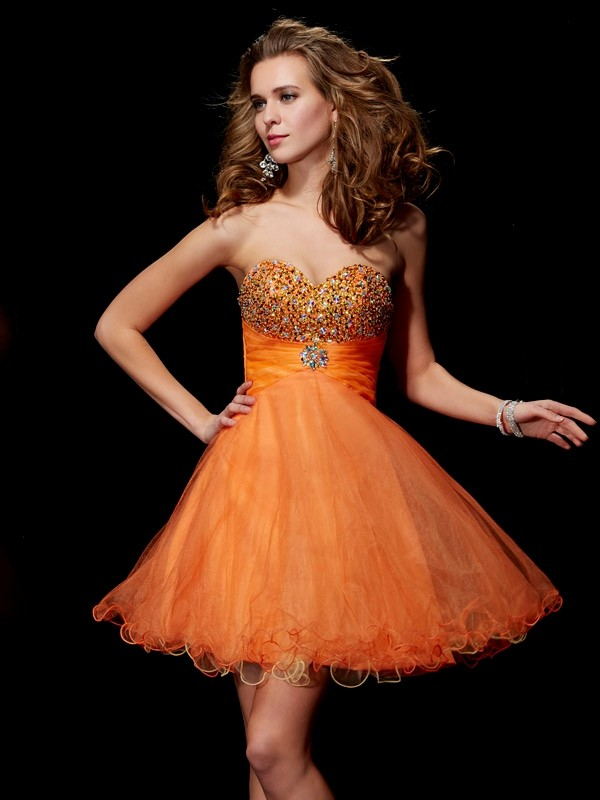 A-Line/Princess Beading Strapless Sleeveless Short/Mini Organza Dresses