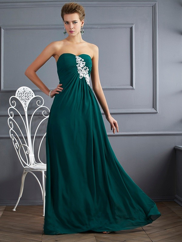 Sheath/Column Beading Sweetheart Sleeveless Floor-Length Chiffon Dresses