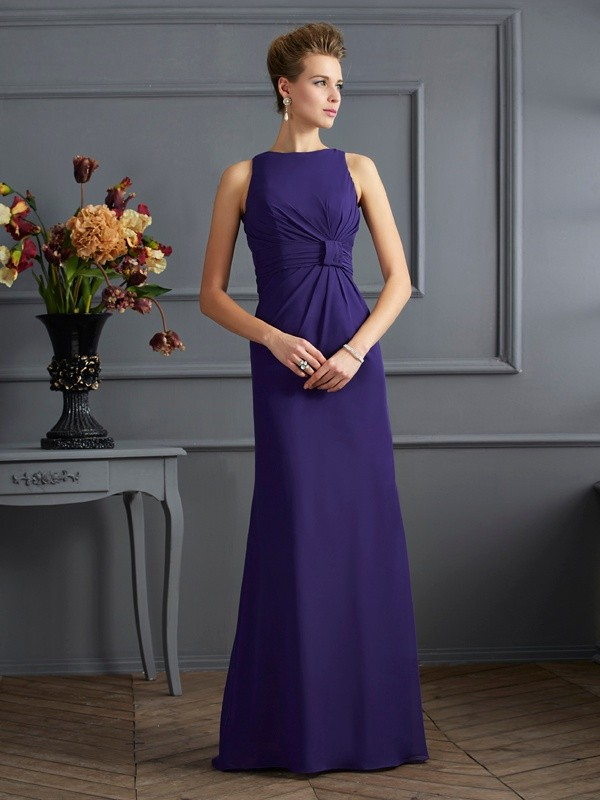 Sheath/Column Pleats Bateau Sleeveless Floor-Length Chiffon Dresses