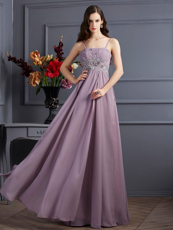 Empire Beading Spaghetti Straps Sleeveless Floor-Length Chiffon Dresses