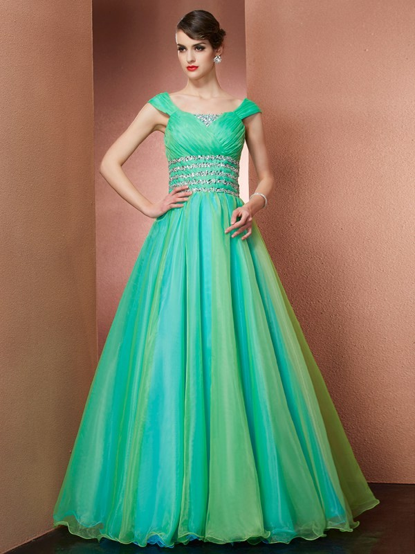 Ball Gown Beading Off-the-Shoulder Sleeveless Floor-Length Satin Dresses