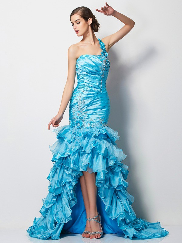 Trumpet/Mermaid Beading One-Shoulder Sleeveless Asymmetrical Taffeta Dresses
