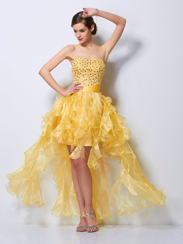 A-Line/Princess Beading Sweetheart Sleeveless Asymmetrical Tulle Dresses