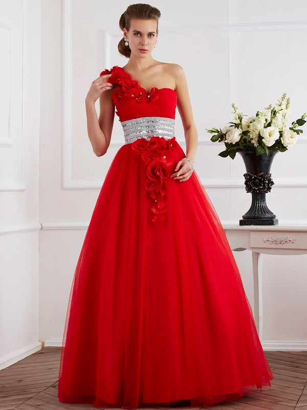 Ball Gown Beading One-Shoulder Sleeveless Floor-Length Net Dresses