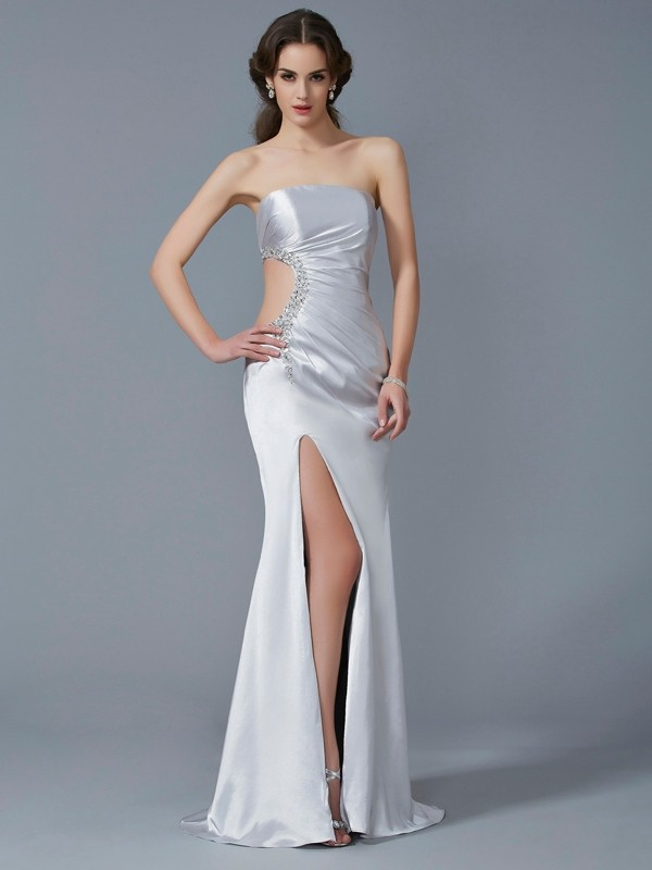 Trumpet/Mermaid Beading Strapless Sleeveless Sweep/Brush Train Elastic Woven Satin Dresses
