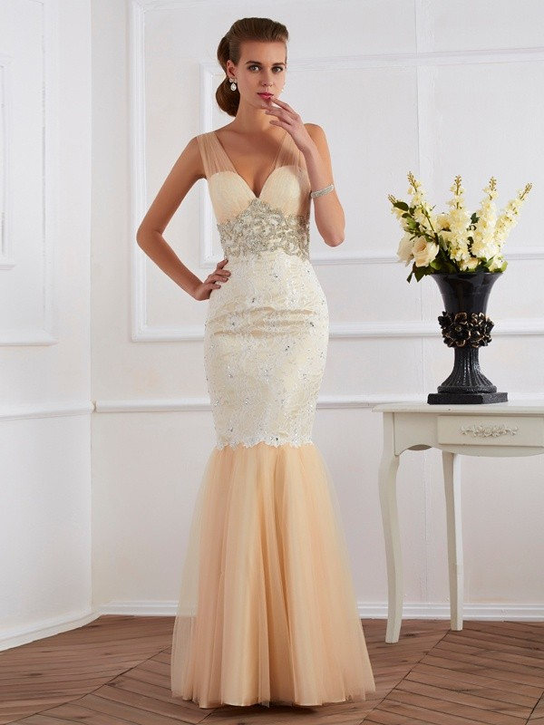 Trumpet/Mermaid Beading Straps Sleeveless Floor-Length Net Dresses