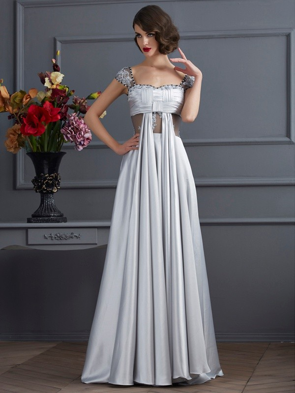 A-Line/Princess Pleats Off-the-Shoulder Sleeveless Floor-Length Elastic Woven Satin Dresses