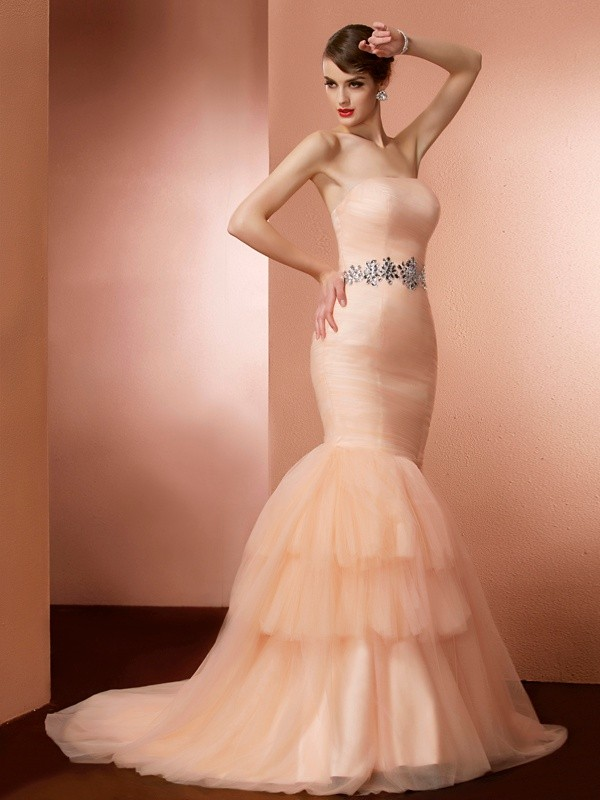 Trumpet/Mermaid Beading Strapless Sleeveless Sweep/Brush Train Net Dresses