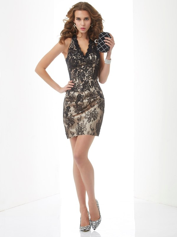 Sheath/Column Lace Halter Sleeveless Short/Mini Lace Dresses