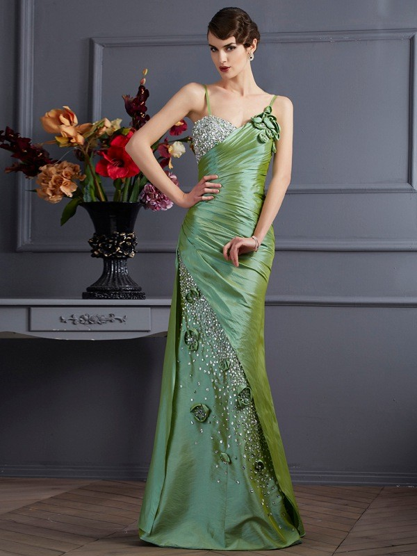 Trumpet/Mermaid Beading Spaghetti Straps Sleeveless Floor-Length Taffeta Dresses