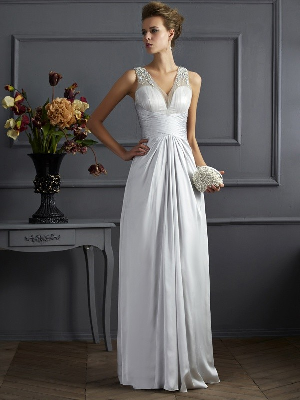 A-Line/Princess Beading Straps Sleeveless Floor-Length Silk like Satin Dresses