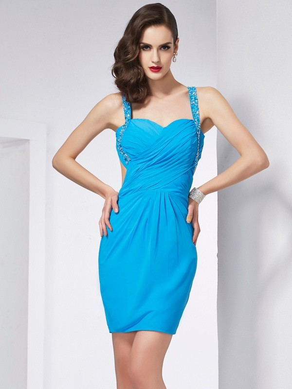 Sheath/Column Beading Spaghetti Straps Sleeveless Short/Mini Chiffon Dresses
