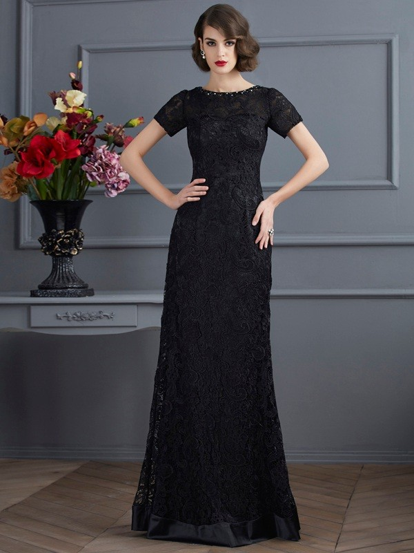 Sheath/Column Lace High Neck Short Sleeves Floor-Length Elastic Woven Satin Dresses
