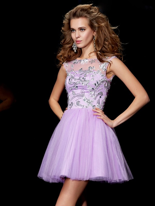 A-Line/Princess Beading Bateau Short Sleeves Short/Mini Satin Dresses