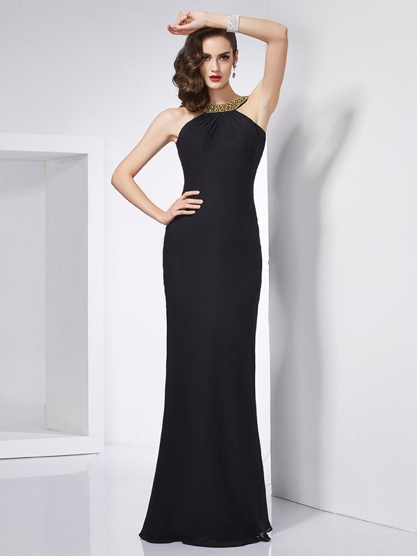 Trumpet/Mermaid Beading Jewel Sleeveless Floor-Length Chiffon Dresses