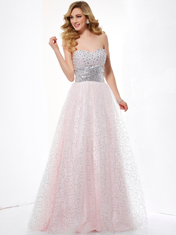 Ball Gown Sweetheart Sleeveless Floor-Length Net Dresses